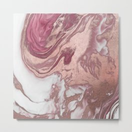 Rose Gold Pink White Painted Girly Abstract Marble Metal Print