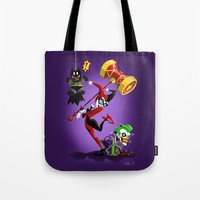 harley quinn Tote Bags featuring Harley Quinn by The Art of Eileen Marie