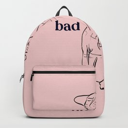 Never a bad hair day - Chubby Hairless Sphynx Cat - Funny Quote - Line Drawing Wrinkly Kitty - Blush Pink - Gold Rose Backpack