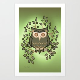 The Wise Old Owl .. fantasy bird Art Print