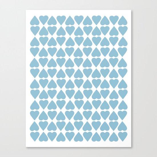Diamond Hearts Repeat Blue Canvas Print