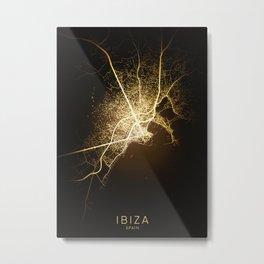 ibiza spain city night light map Metal Print