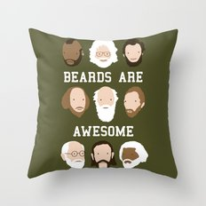 Beards Are Awesome Throw Pillow