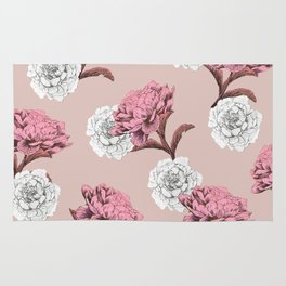 pink and white peonies and roses Rug
