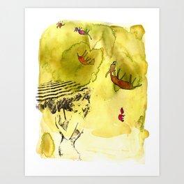 Falling Farm Animals Art Print