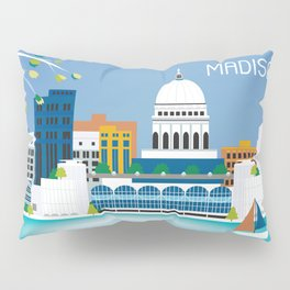 Madison, Wisconsin - Skyline Illustration by Loose Petals Pillow Sham