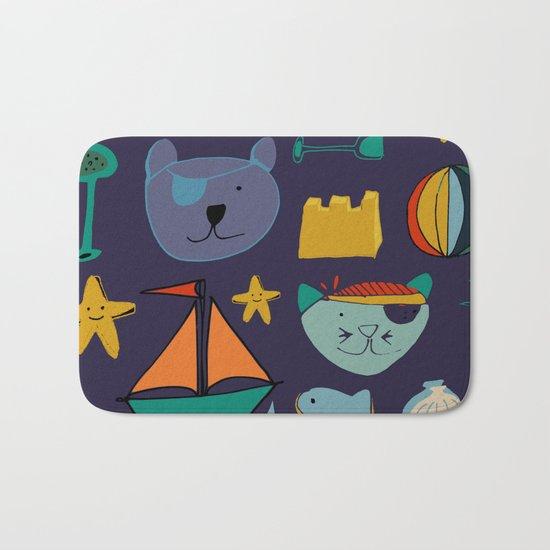 cat and bear pirate purple Bath Mat