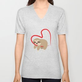Dear Valentine's Day Sloth Sweet Cute Gift Unisex V-Neck