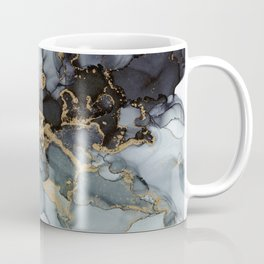 Stormy Black Gold Marble | Abstract Ink Coffee Mug