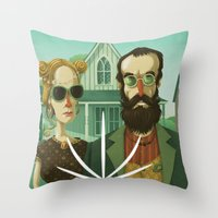 gothic Throw Pillows featuring American Gothic High by Steve Simpson