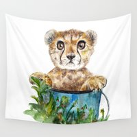 cheetah Wall Tapestries featuring cheetah by Anna Shell