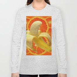 TROPICAL PEELED BANANA & JUICY ORANGE SLICES FRUIT Long Sleeve T-shirt