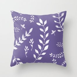 Ultra Violet Leaves Pattern #2 #drawing #decor #art #society6 Throw Pillow
