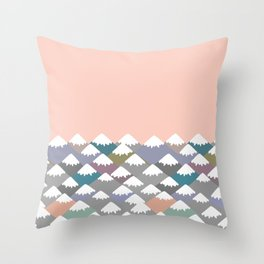 Nature background with Mountain landscape. Gray, pink, blue navy mountain with snow-capped peaks. Throw Pillow