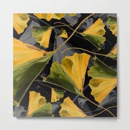 Yellow Ginkgo Leaves on Black Metal Print