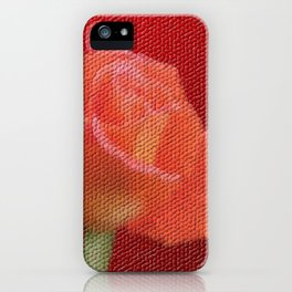 orange single rose bloom in small mosaic on a colored background of small hexagons iPhone Case