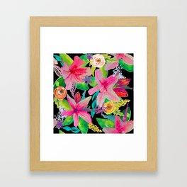 Neon Azeleas // Black Framed Art Print