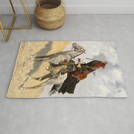 "Frederic Remington Western Art ""The Blanket Signal"" Rug"