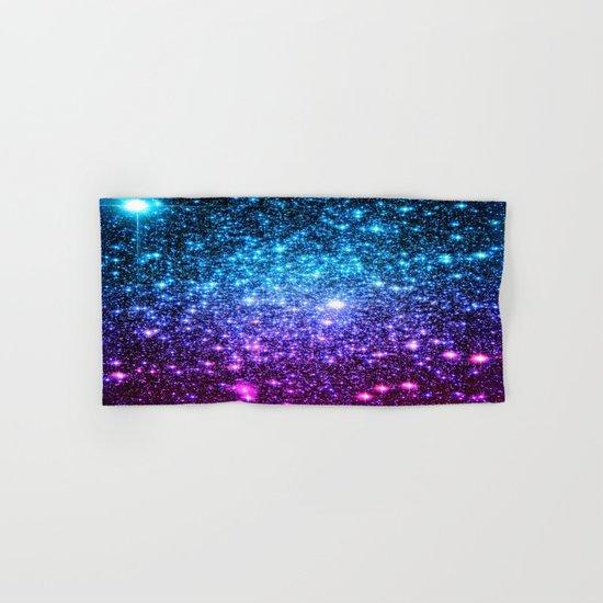 Glitter Galaxy Stars : Turquoise Blue Purple Hot Pink Ombre Hand & Bath Towel