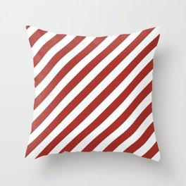 Diagonal Stripes (Maroon & White Pattern) Throw Pillow