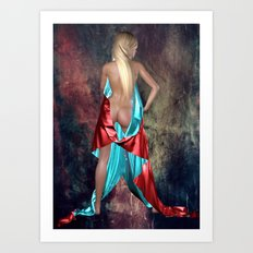 Nude with drape back view Art Print