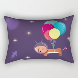 Galaxy Dog with balloons Rectangular Pillow