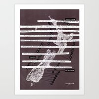 poem Art Prints featuring Map Poem by Anna Hollings