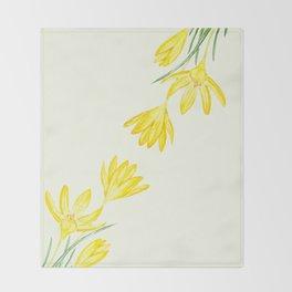 yellow botanical crocus watercolor Throw Blanket