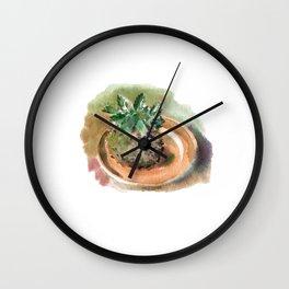 Japanese kokedama moss ball. Hauseplant. Watercolor hand-drawn. Wall Clock