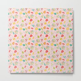Colorful Doodle Candy Pattern - Pink, Blue, Green, Red Metal Print
