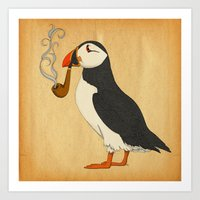 puffin Art Prints featuring Puffin' by Megs stuff