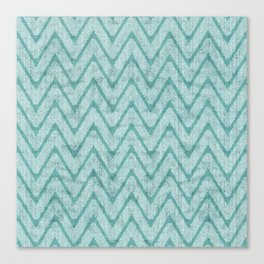 Soft Sea Green Zigzag Imitation Terry Towel Canvas Print