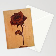 Beautiful wooden rose marquetry art picture Stationery Cards