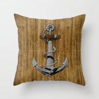 anchor Throw Pillows featuring Anchor by MacDonald Creative Studios