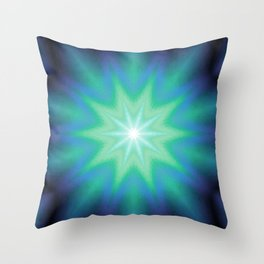 Teal Mint Purple Starburst Throw Pillow