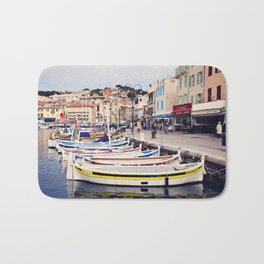 Boats in Cassis Harbor Bath Mat