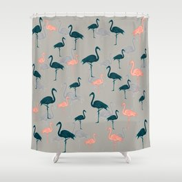 Tropical Gathering Flamingo Design Shower Curtain