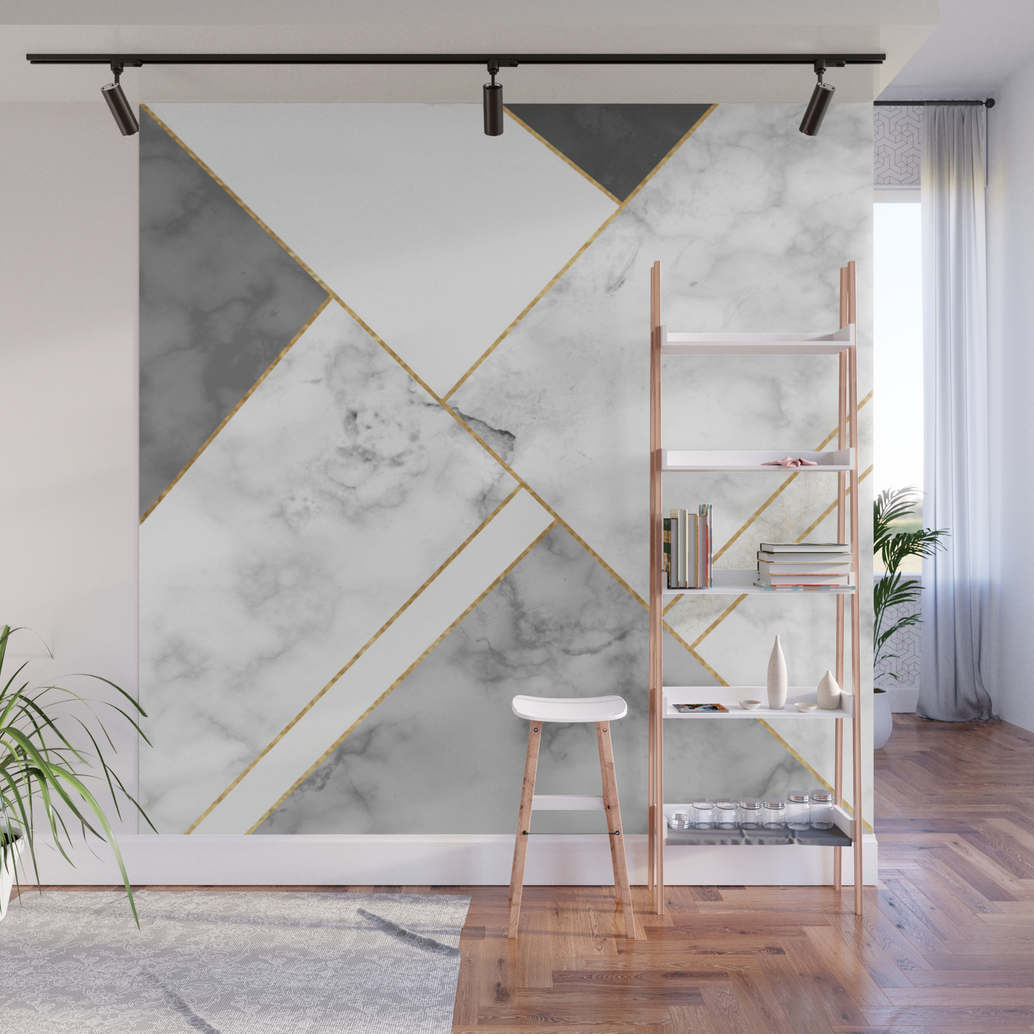 White Grey And Gold Marble Wall Mural By Eliseevans Art Society6