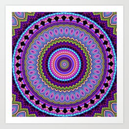 purple feathers Mandala Art Print