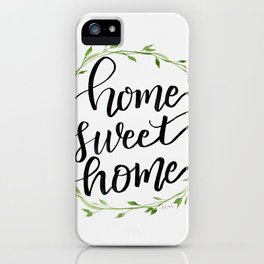 Home Sweet Home in Green Wreath iPhone Case