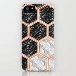 Geometric marble honeycomb - black & white iPhone Case