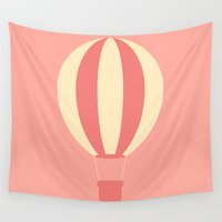 hot air balloon Wall Tapestries featuring #84 Hot Air Balloon by MNML Thing
