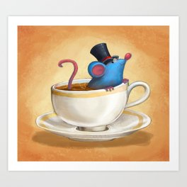 Mr. Bluemouse in a Teacup Art Print