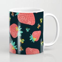 Strawberries   Black Coffee Mug