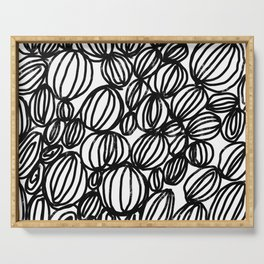 Loop black and white minimalist abstract painting mark making art print Serving Tray