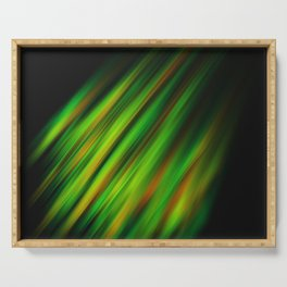 Colorful neon green brush strokes on dark gray Serving Tray