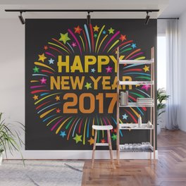 Happy new year 2017 firework Wall Mural