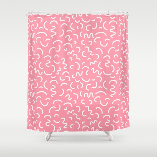 1980s Abstract Memphis Pattern Trendy Modern Pattern Print Pink Black And Blue Shower Curtain By
