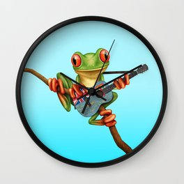 Tree Frog Playing Acoustic Guitar with Flag of Fiji Wall Clock