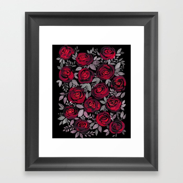 Watercolor Red Roses On Black Background Framed Art Print By